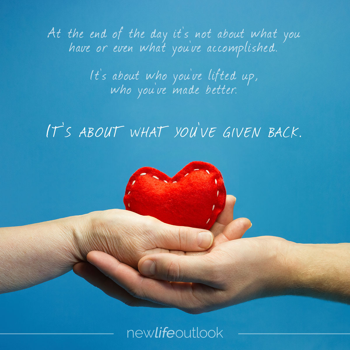 It's about what you've given back